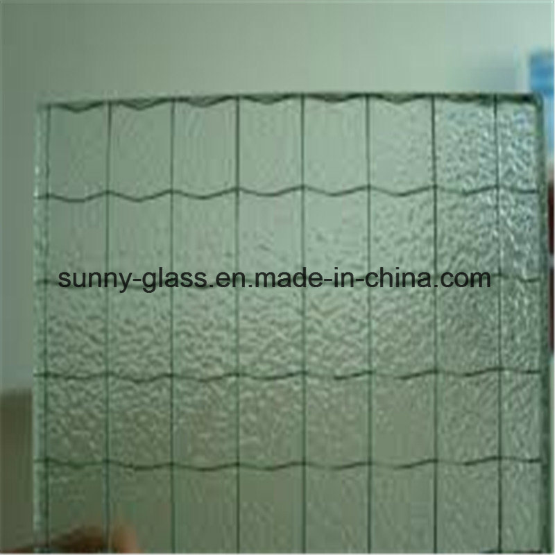 6mm 6.5mm Nashiji Patterned Wired Glass