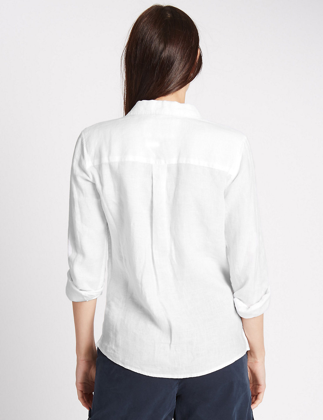 Fashion Women Pure Linen Long Sleeve Shirt