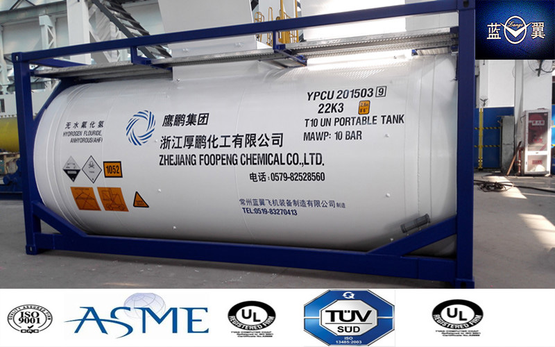 24000L 20FT Carbon Steel 22bar Pressure Tank Container for R22, R134A, R32, LPG