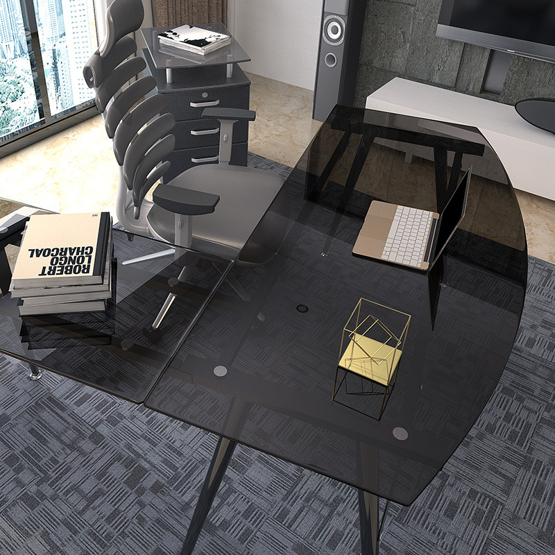 Home Furniture Glass Corner Desk with L-Shaped for Computer Use