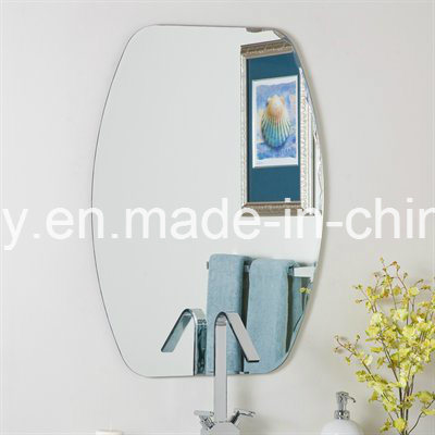 Frameless Silver Mirror Glass with Polished Edge for Bathroom, Wash Basin Mirror with Metal Hangers