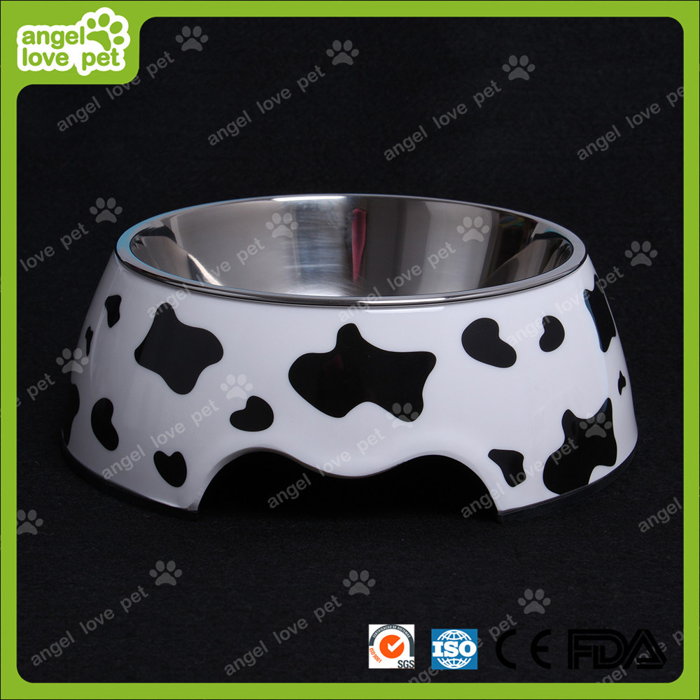 Milk Cow Melamine Bowl with Stainless Steel Pet Bowl
