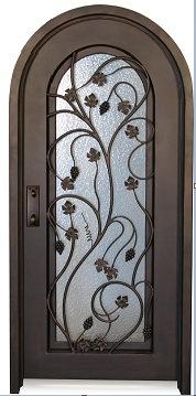 Round Top Wrought Iron Entry Door Single Cell Door