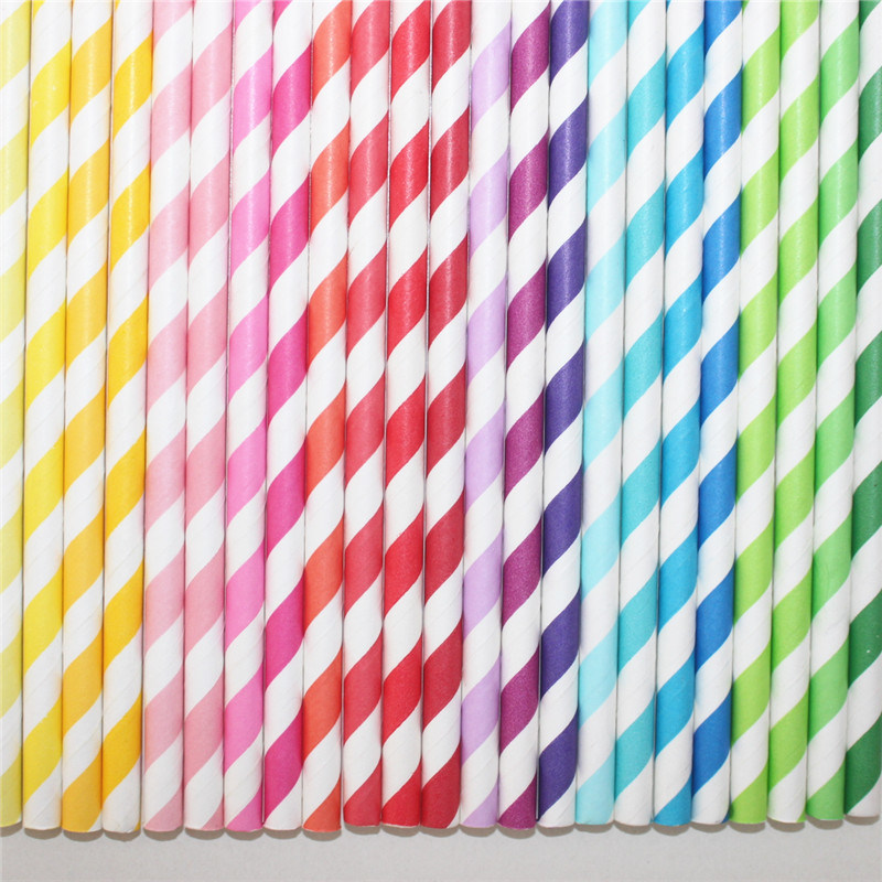 Striped Chevron DOT 100% Eco-Friendly Paper Straw