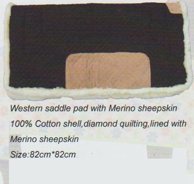 Horse Gear Westem Saddle Pad with Merino Sheepskin