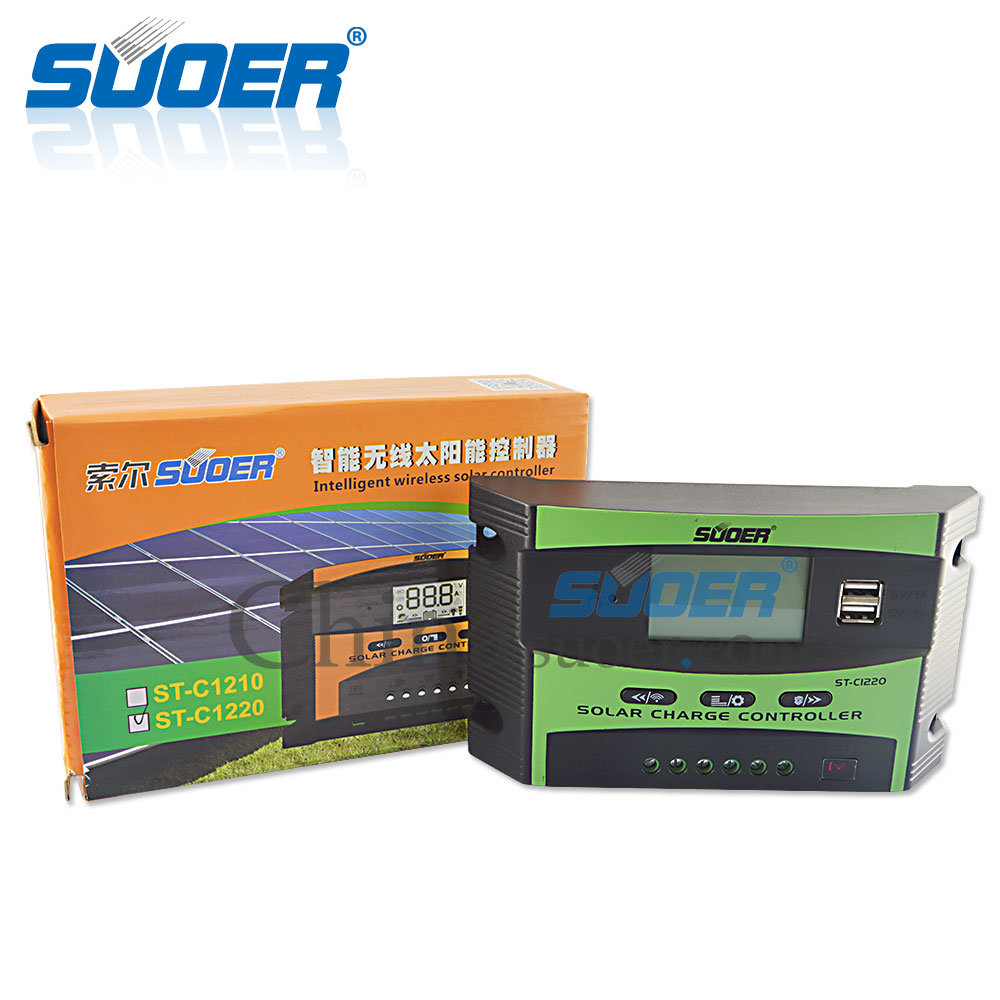 Suoer 12V 24V 20A PWM Solar Charge Controller Solar Controller (ST-C1220)