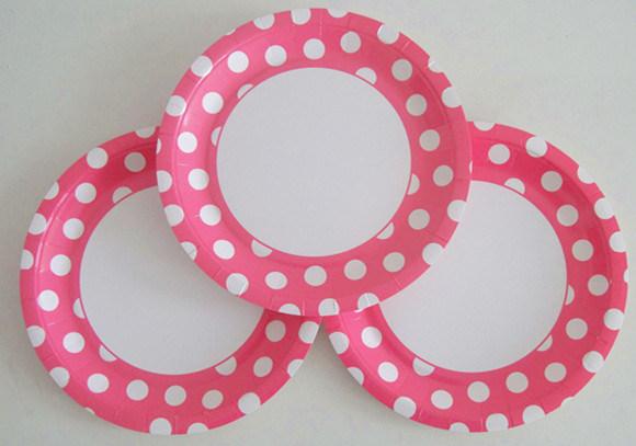 decorative items wholesale colored pink dots paper plates - Decorative Paper Plates