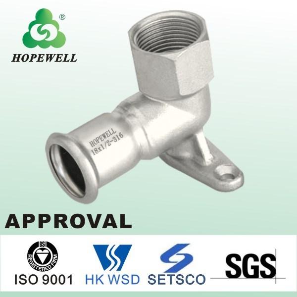 Top Quality Gunagzhou China Inox Plumbing Sanitary Stainless Steel 304 316 Wall Plate Elbow