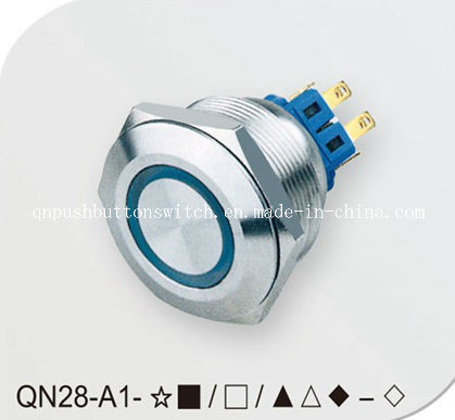 Vandalproof Blue 12V Ring Two Step Push Button Switch