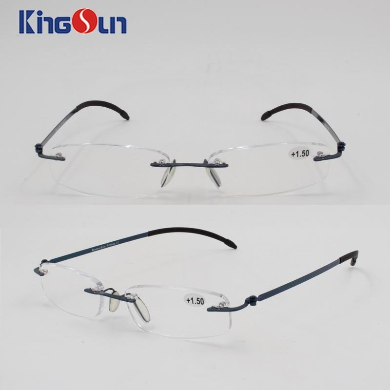 Rimless Steel Temple Reading Glasses with Soft Cases