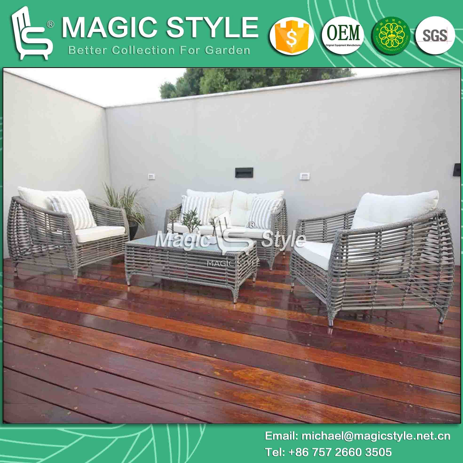Synthetic Wicker Sofa Set Rattan Sofa with Cushion Leisure Furniture with Special Weaving (Magic Style)