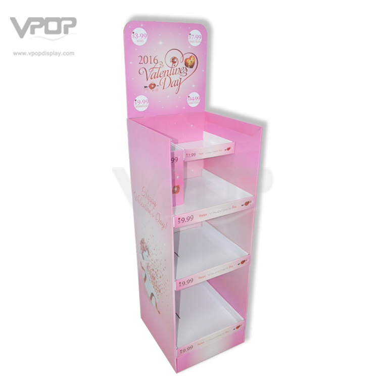 Valentine′s Day Cardboard Floor Stand with Shelves for Chocolate