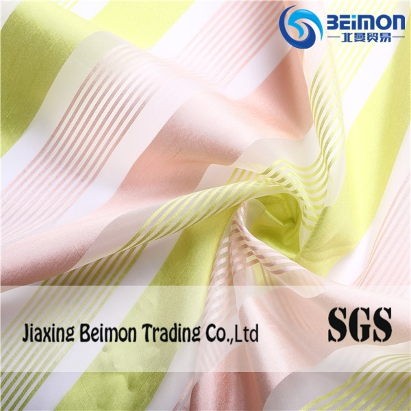 Wholesale Good Quality 100%Polyester Yarn Dyed Irregular Striped Organza Fabric