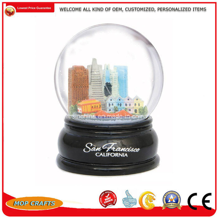 Customized Polyresin Snow Globe for Tourist Crafts, Resin Water Globe City Building Arts