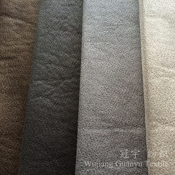 3 Layers Polyester Suede Micro Leather Fabric with Backing