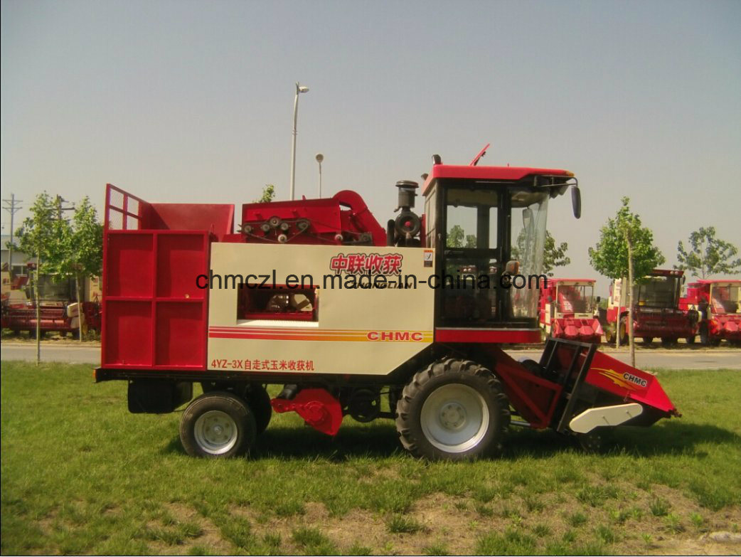Three Rows Picker and Peeling Mini Corn Combine Harvester