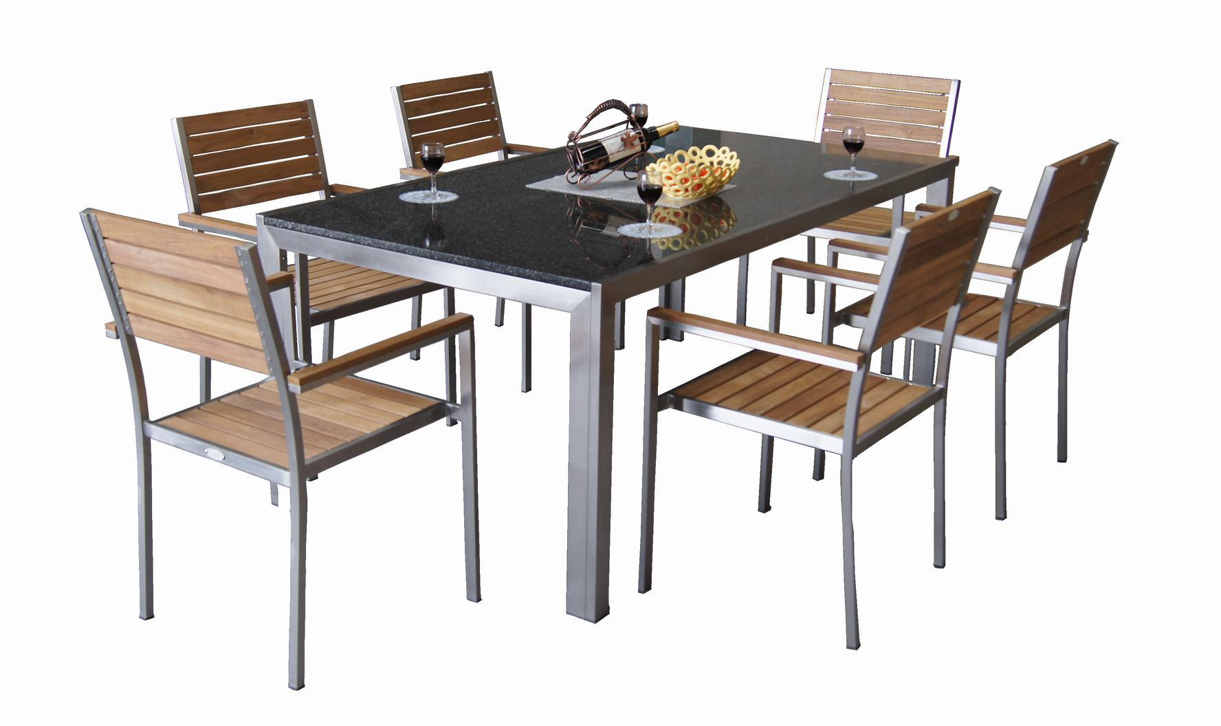 China Outdoor Granite and Stainless Steel Garden Furniture