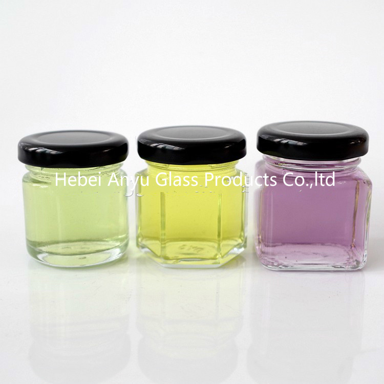 1 Oz 2 Oz Round Hexagon Square Mini Glass Honey Jar Mason Shot with Black Lid