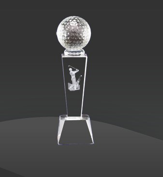 3D Figurine Glass Crystal Golf Trophy for Sport