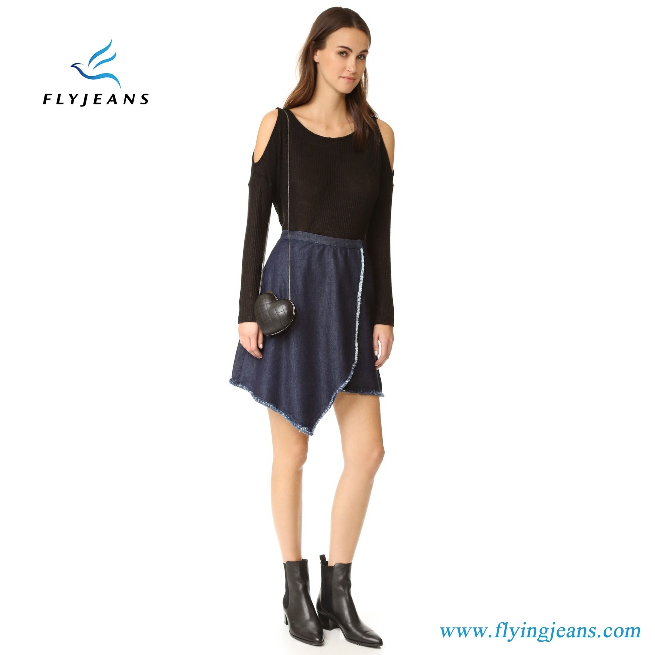 Fashion Ladies/Girls Denim Mini Skirts with Draped Asymmetrical Design Frayed Edges (Jeans E. P. 512)