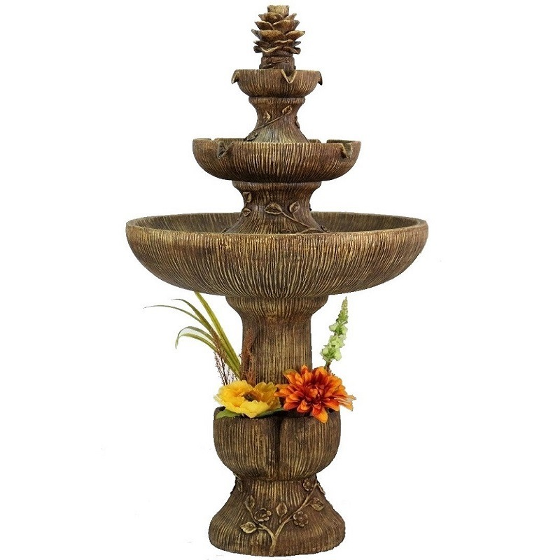 Outdoor Resin Fountain Come with Planter