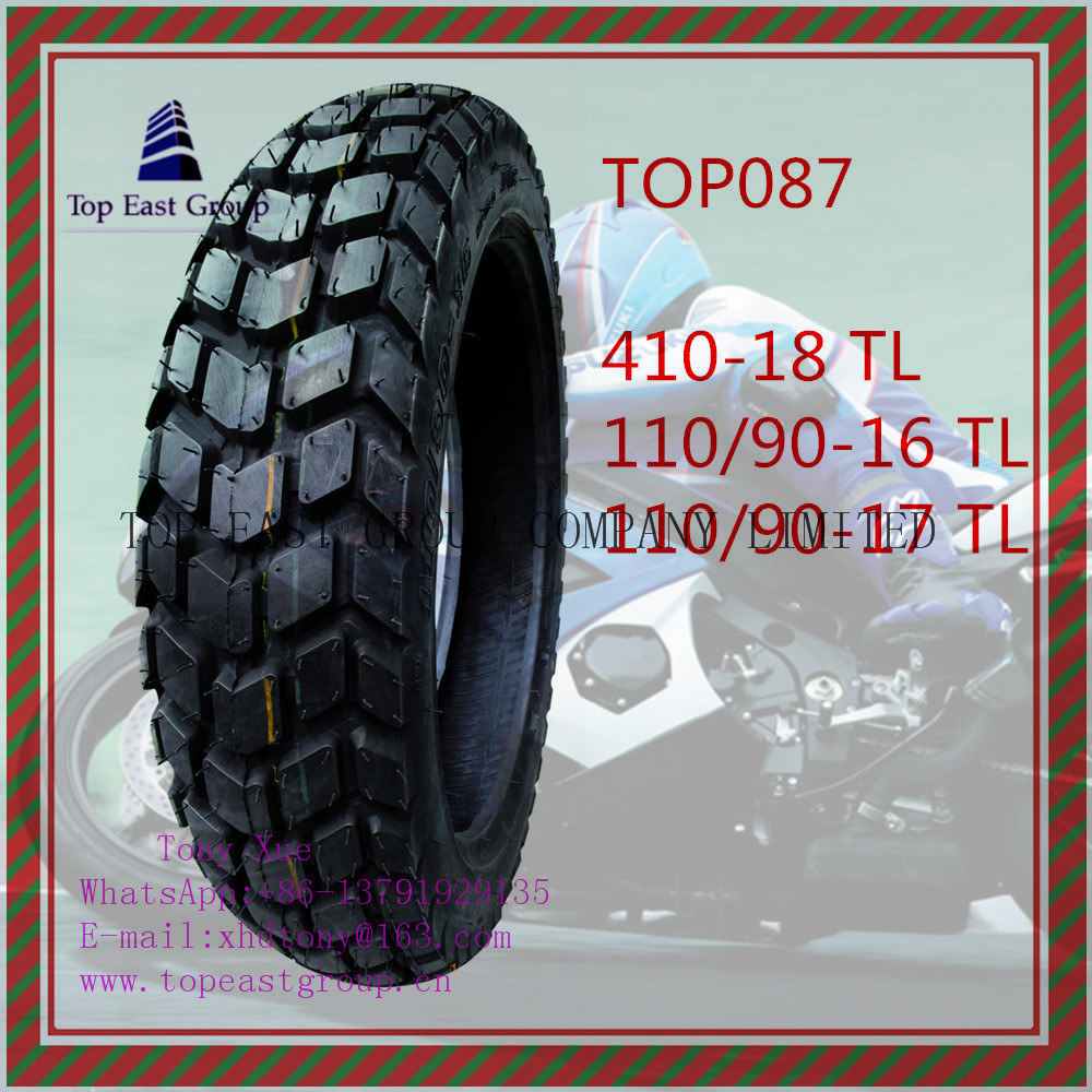 410-18 110/90-16 110/90-17 High Quality, Tubeless 6pr Nylon Motorcycle Tyre