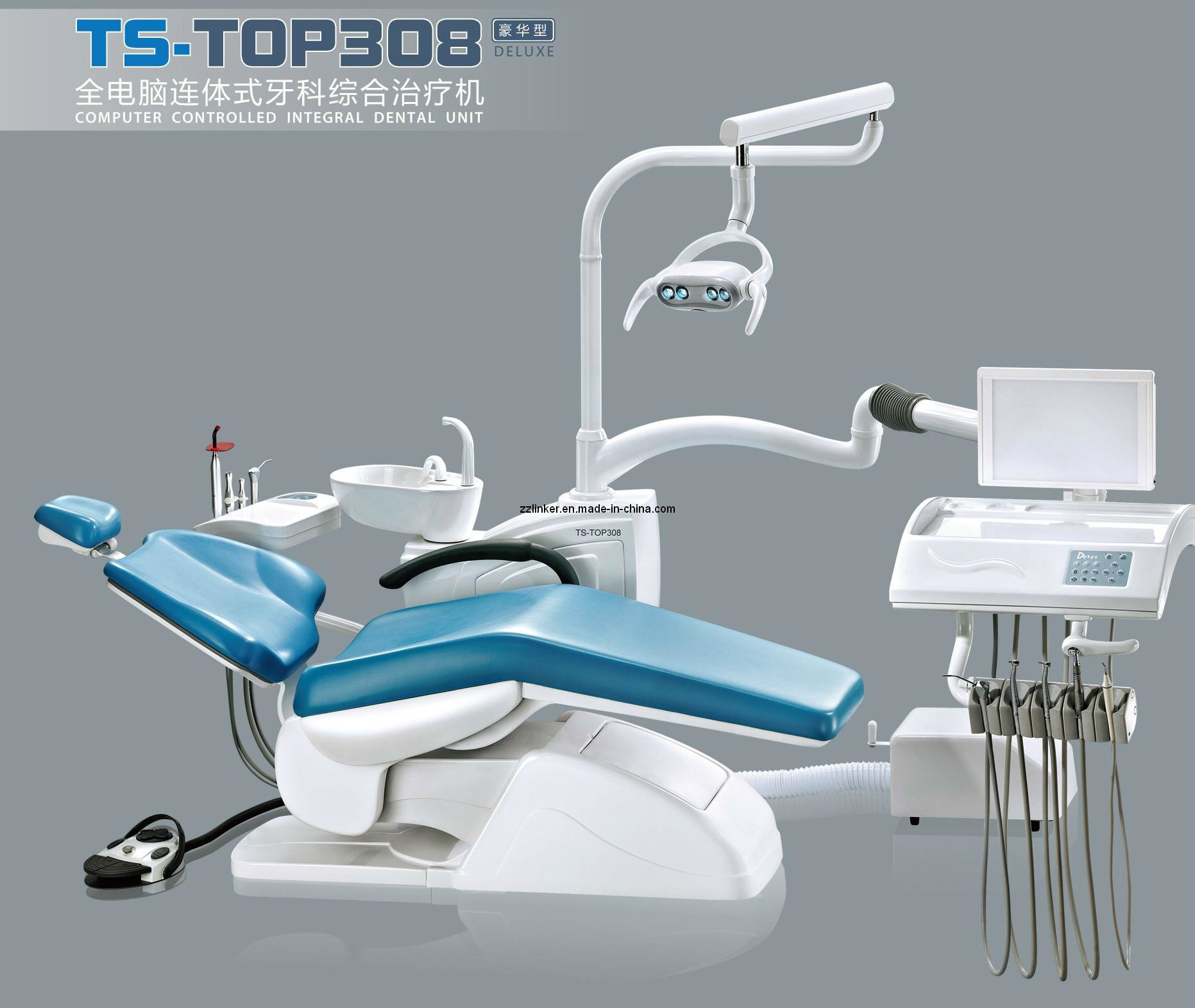 China Detes Top 308 Deluxe plete Low Mounted Dental Chair Unit