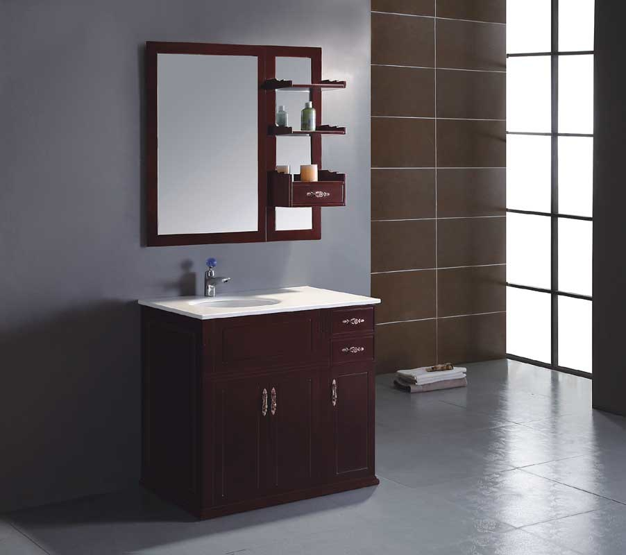 Solid wood bathroom cabinet bathroom vanity yl s9850 china bathroom cabinets bathroom for Unfinished wood bathroom cabinets