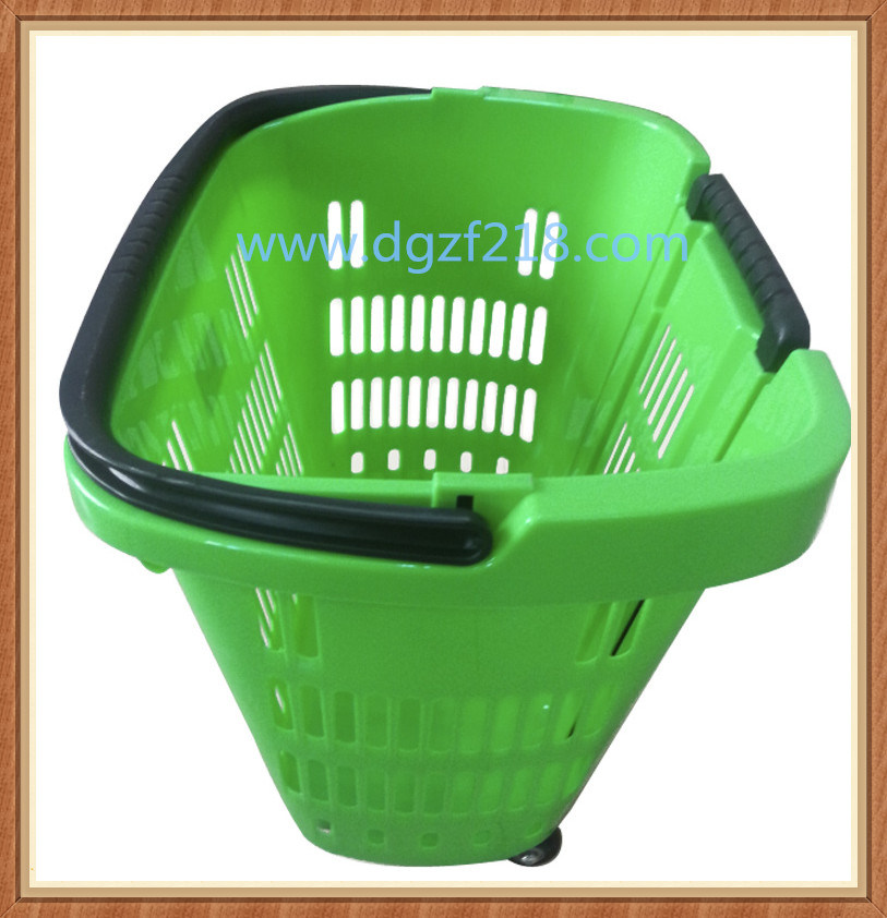 China Superior Colored PP Plastic Trolley Supermarket Baskets for Shopping