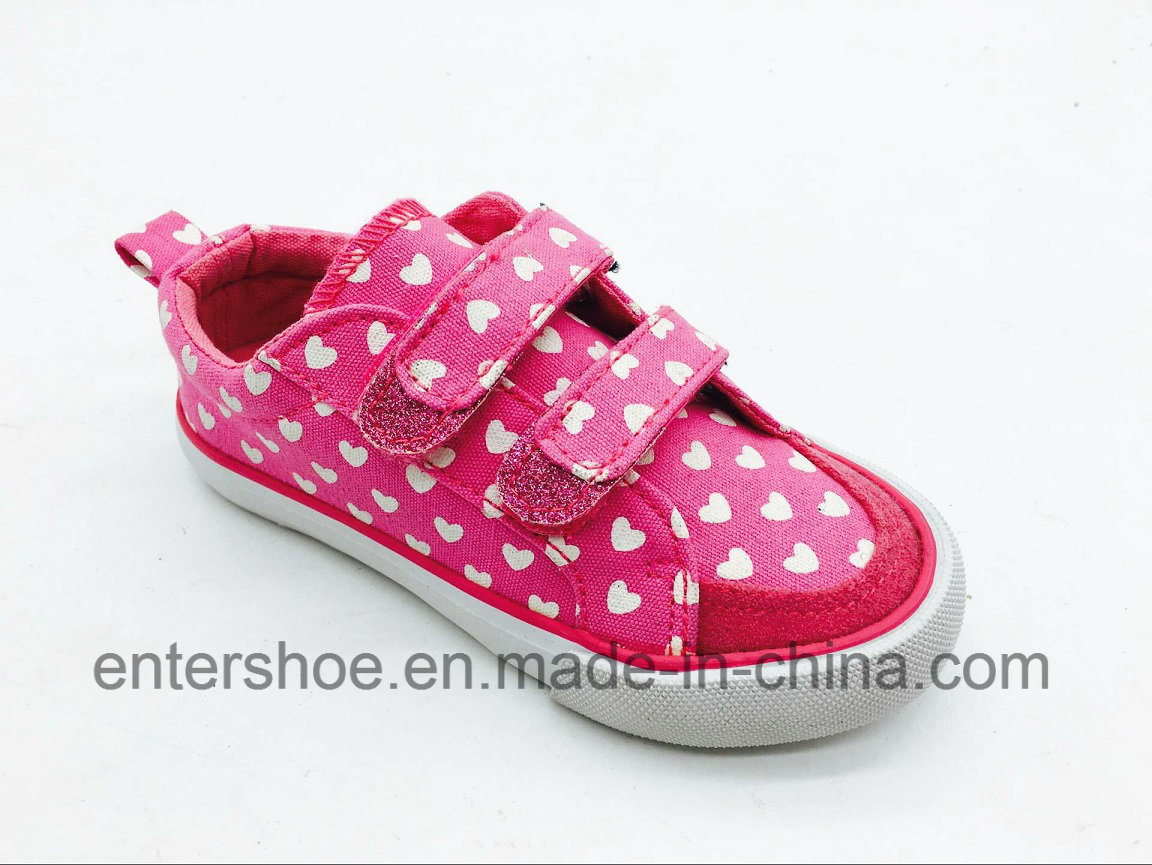 Magic Tape Pink Heart Canvas Shoes for Girls (ET-LH160279K)