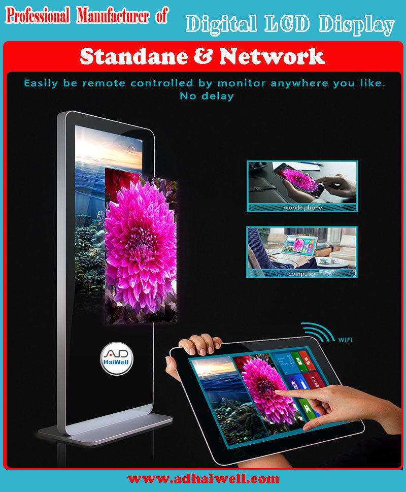 55 Inch Floor Standing Digital LCD Screen Advertising Display Touching LCD Screen
