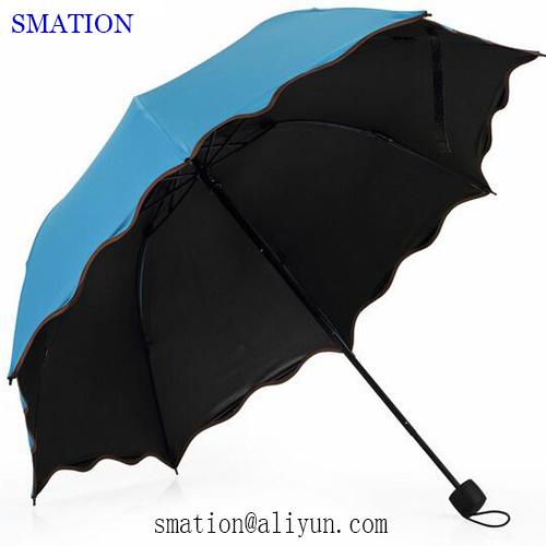 Reverse Folding Fold Fashion Promotion Lady Women Vinyl Sun Umbrella