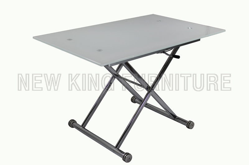 Modern Fashion Temper Glass Top with Foldable Steel Foot Dining Table (NK-DT024)