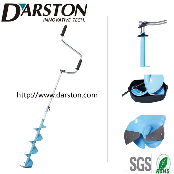 T-Style Hand Ice Auger/Drill with Curve Ice Blade, Folded and Extension Crank