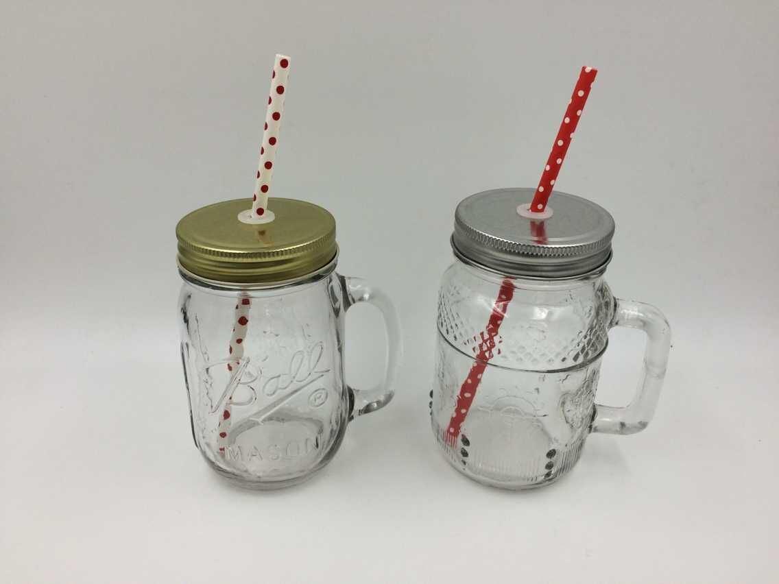 High Quality Glass Mason Drinking Jar with Metal Cap