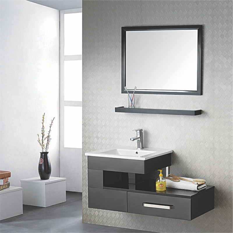 Bathroom Cabinet, Wash Basin Cabinet, Combination Set Wood Wash Basin PVC Bathroom Cabinet