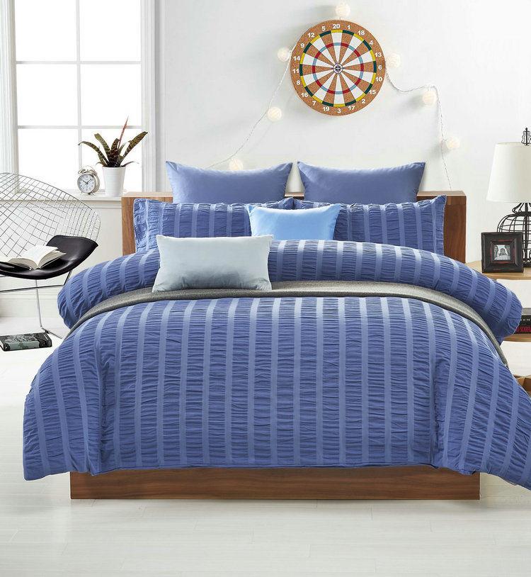 3 Pure Color Seesucker 4 Pieces Bedding Sets