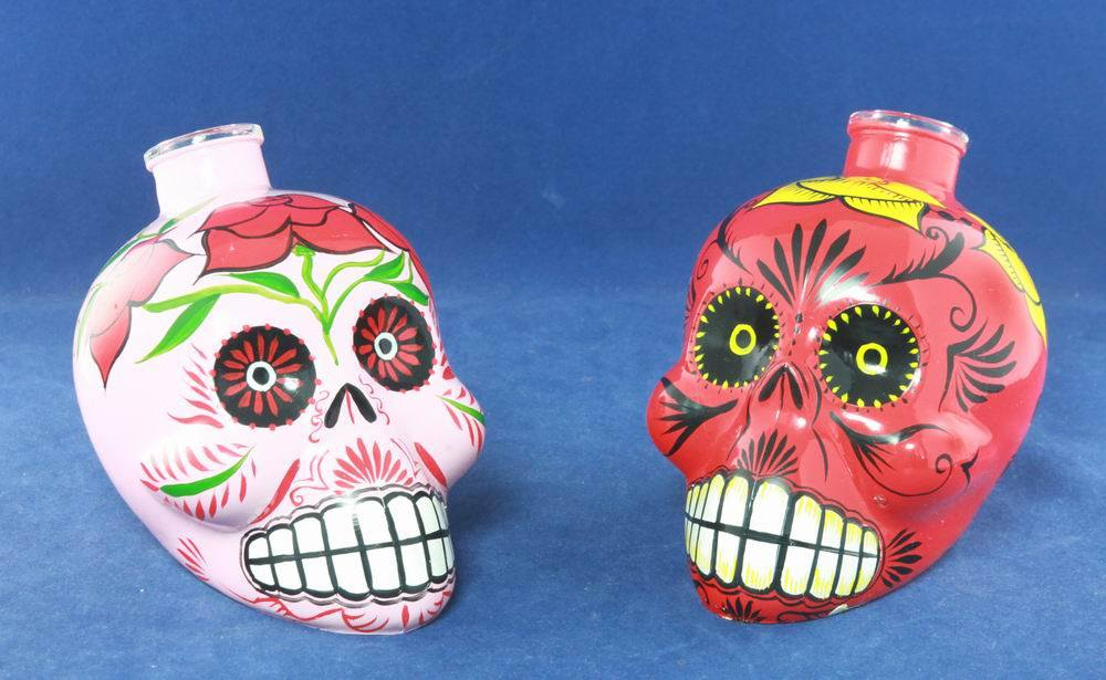 Hand Paint Tequila Skull Glass Bottle