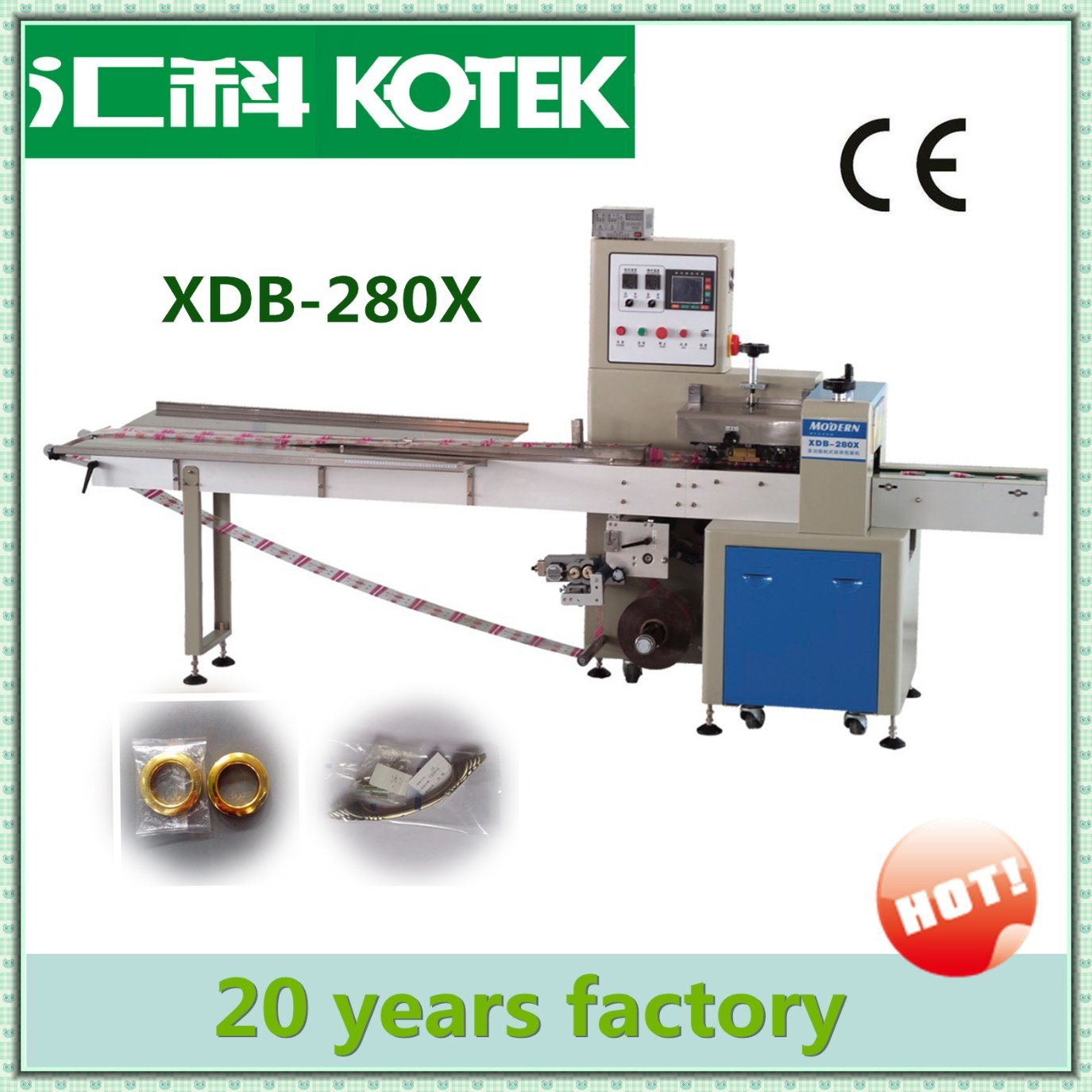 Easy Operation Pastry Flow Packing Machine Small Food Packing Machine