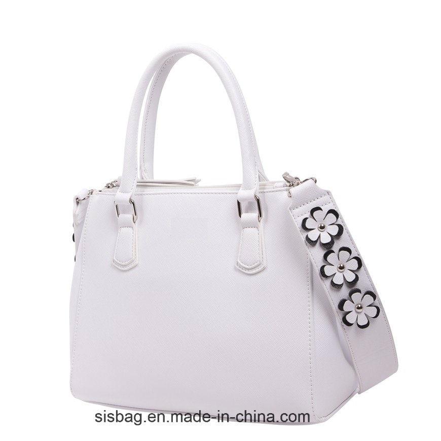 Designer Pure Color PU Handbag with Flower Shoulder Strap