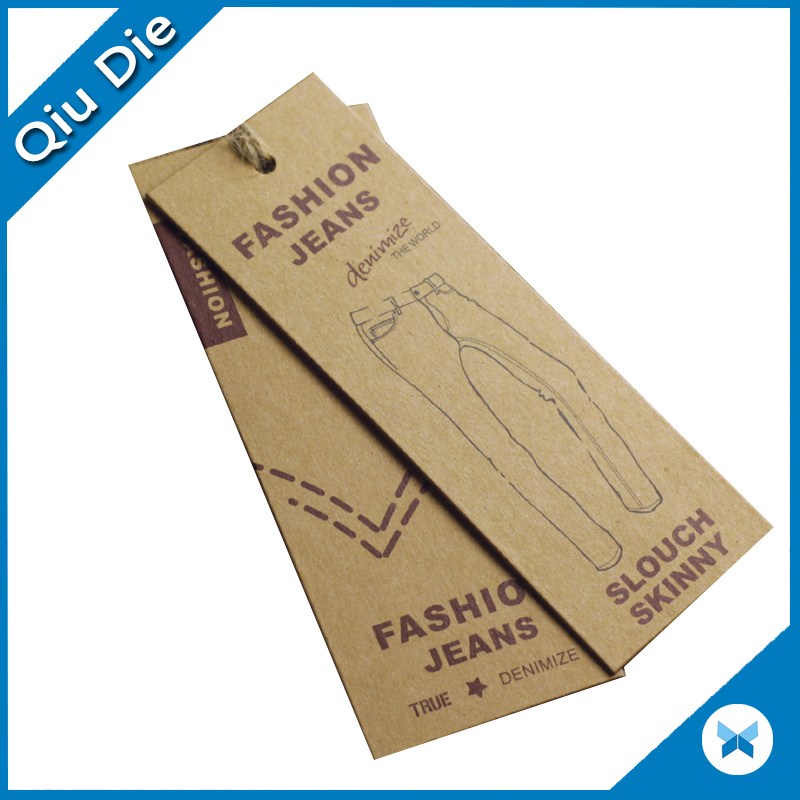 Custom Design Recycled Kraft Paper Jeans Garment Hang Tag