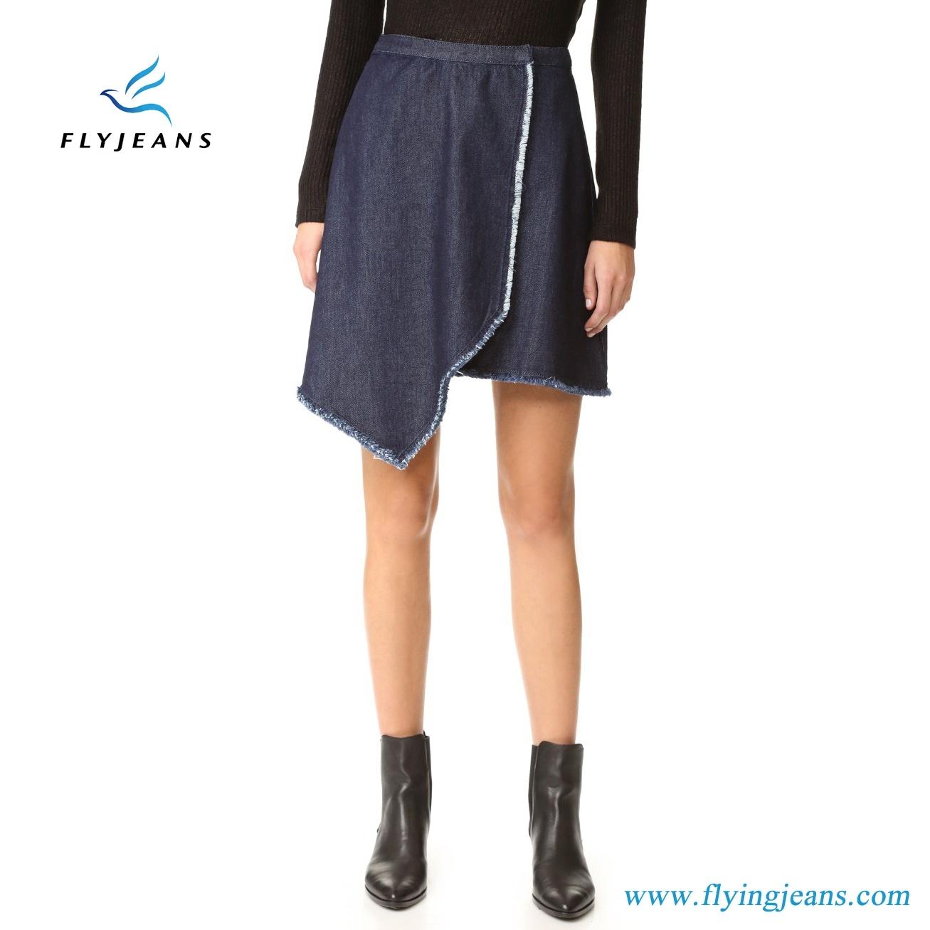 Fashion Ladies/Girls Denim Mini Skirts with Draped Asymmetrical Design Frayed Edges (Jeans E. P. 512)