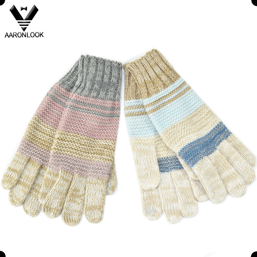 Hot Sales Fashion Stripe Knitted Winter Glove Five Finger
