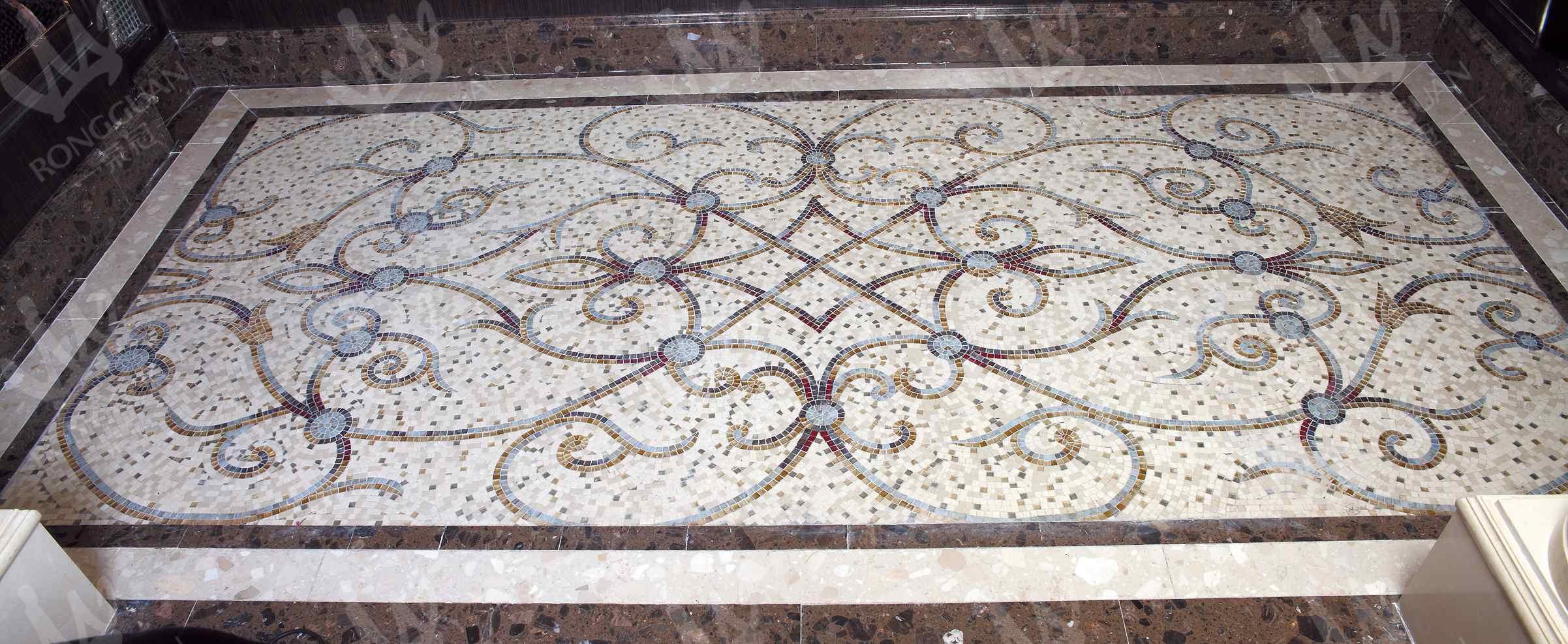 China Marble Stone Mosaic Art Design For Floor Carpet