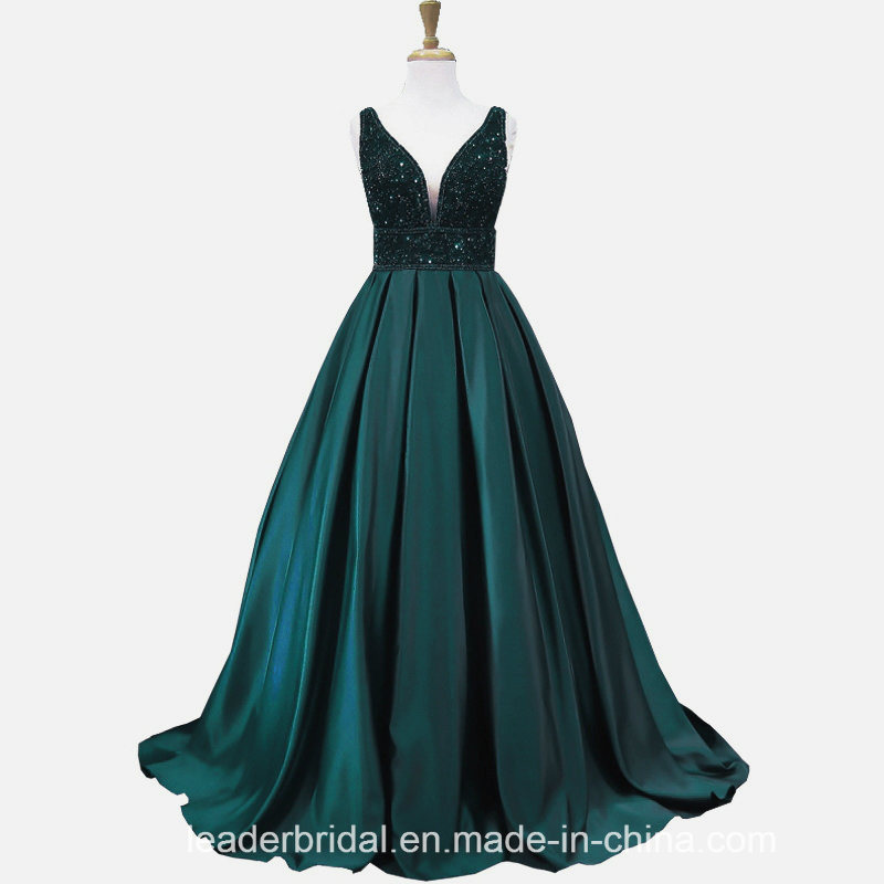 V-Neck Prom Party Gowns A-Line Crystals Green Red Evening Formal Dresses Z5024