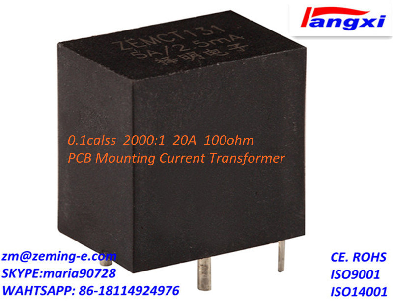 PCB Mounting Current Transformer 0.1calss 2000: 1 20A 100ohm Zemct131A