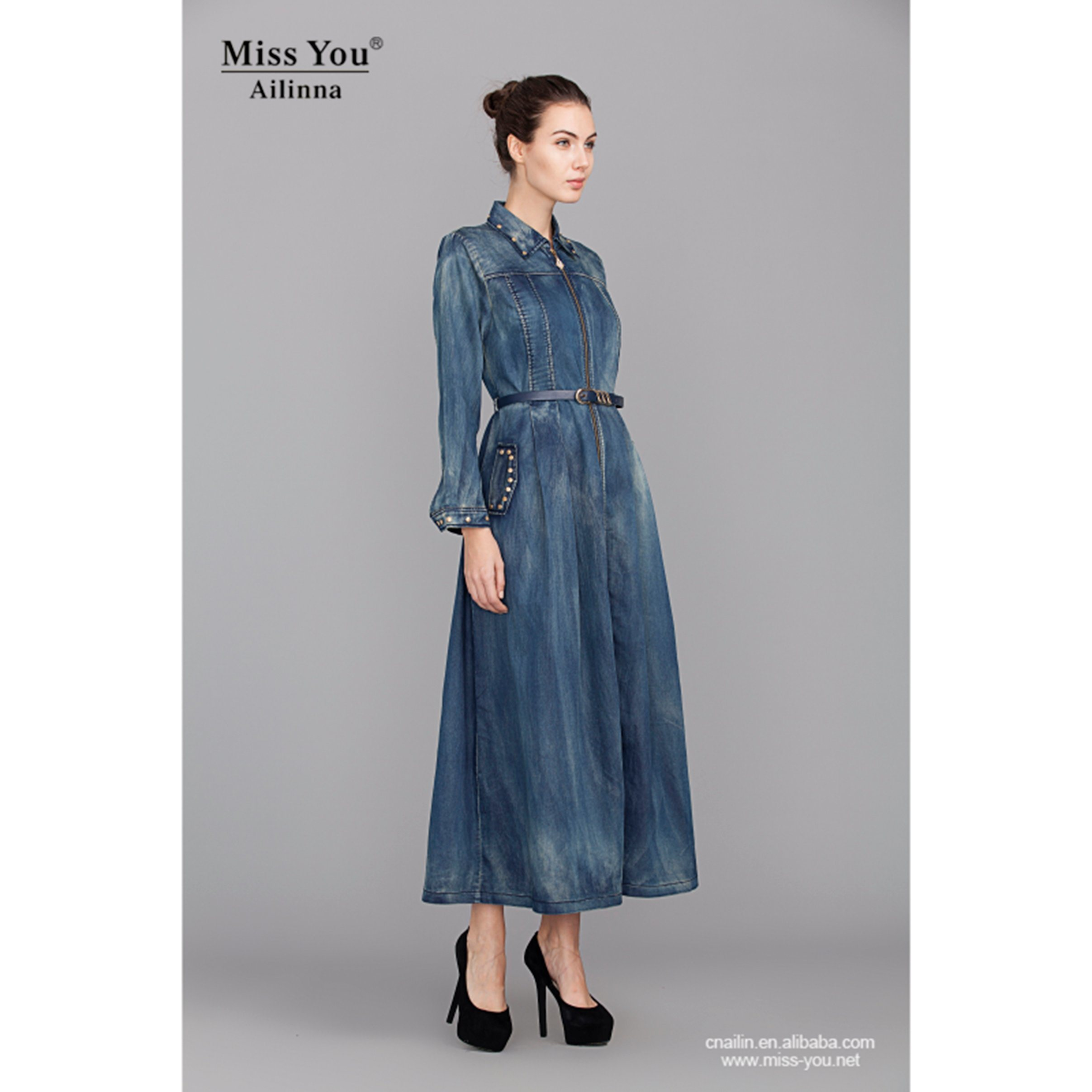 Miss You Ailinna 801936 Ladies Fashion New Denim Long Sleeve Beaded Dress with Belt
