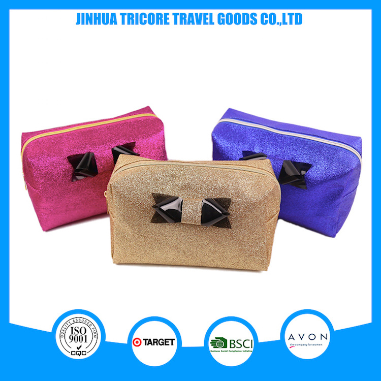 2017 Whole Sale Beautiful Shinny PU Cosmetic Bag with Bowknit