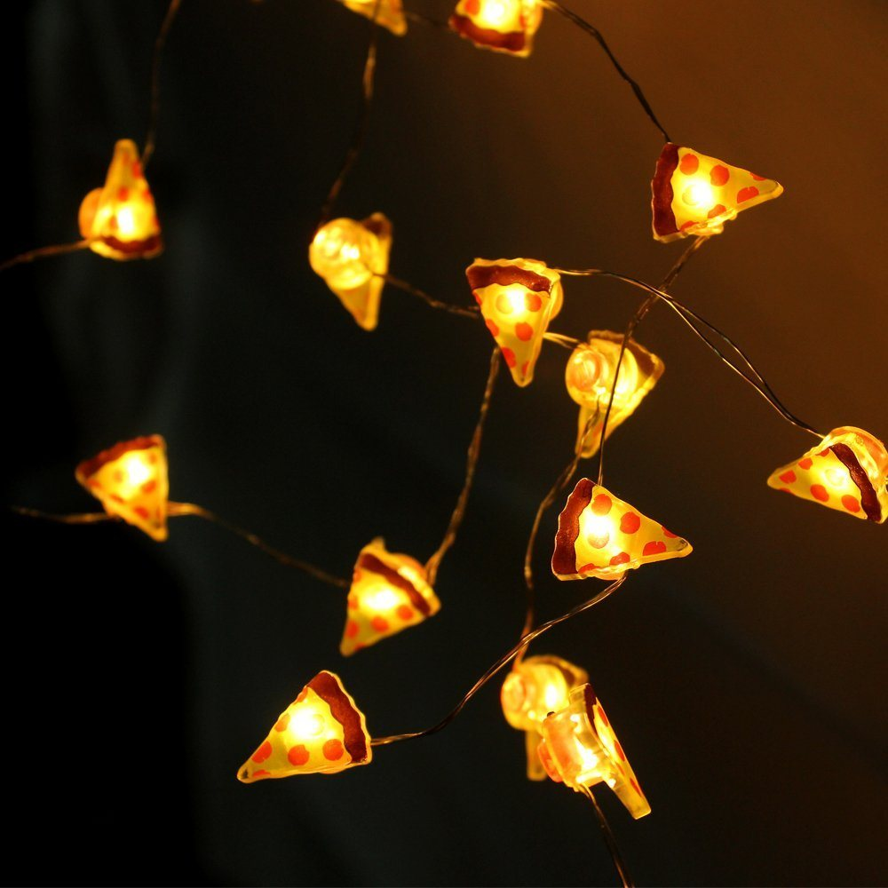 10 LED Shape in Pizza Silver Wire Table Decorations Fairy String Lights