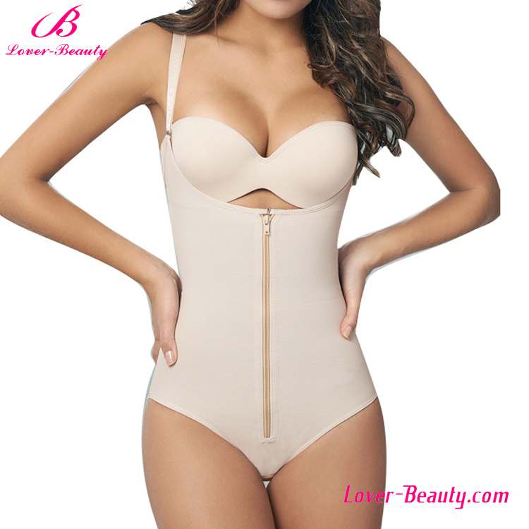 Fashionable Nude Zipper 6 Steel Boned Waist Training Shapewear